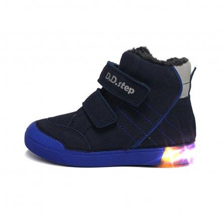 Chlapčenské blikajúce zimné topánky zateplené s kožušinkou-Royal Blue
