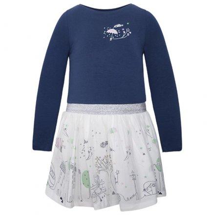 Dievčenské kombinované šaty s dlhým rukávom