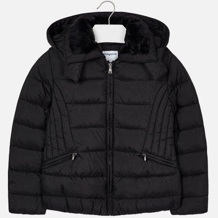 Dievčenský zimný kabát s odopínateľnou kapucňou