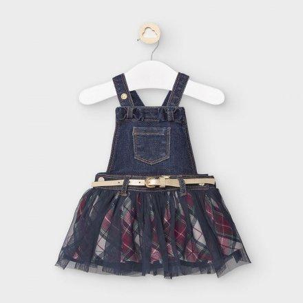 Riflové šaty s tylovou sukňou na traky
