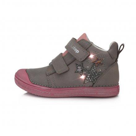 Dievčenské kožené prechodné blikajúce topánky-Grey