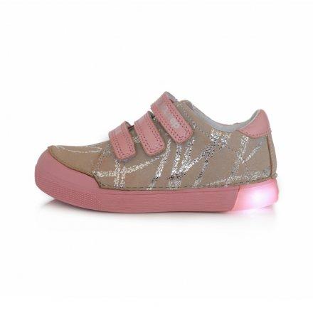 Dievčenské kožené blikajúce prechodné topánky-Grey