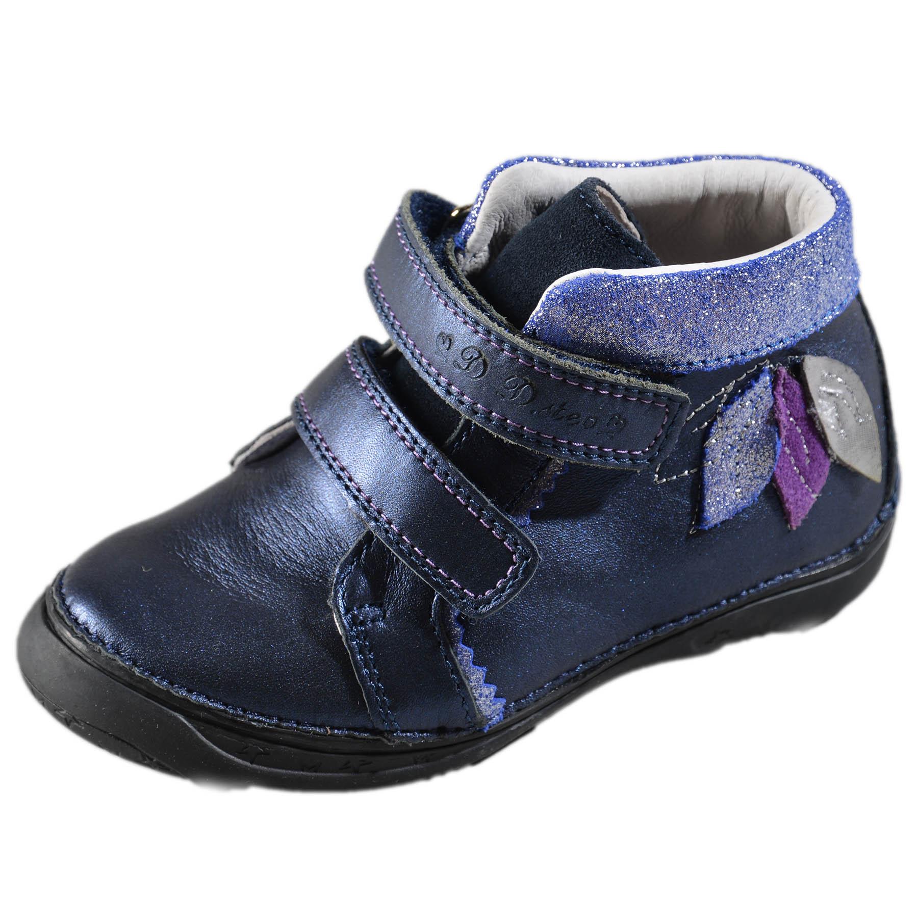 534e06782a7c Dievčenské prechodné kožené topánky-Royal Blue DDstep - 046-608M ...
