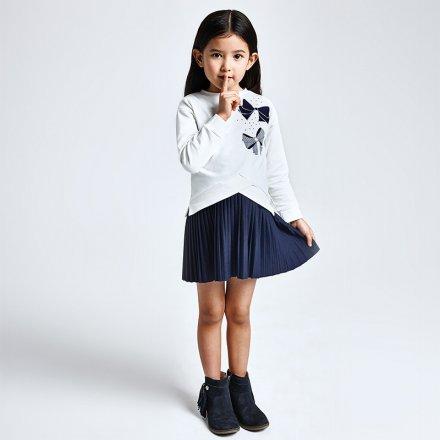 Dievčenský komplet- šaty bez rukávov  s plysovanou sukňou a mikina