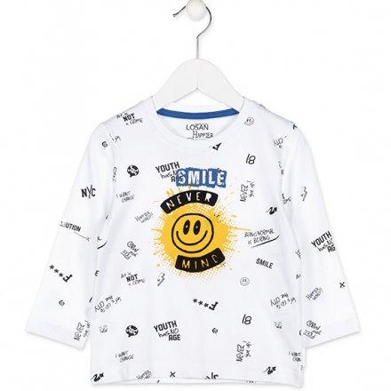Chlapčenské tričko v bielej farbe s dlhým rukávom