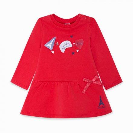 Dievčenské bavlnené šaty s dlhým rukávom s nášivkami