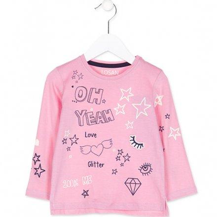 Dievčenské tričko s dlhým rukávom s hviezdičkami