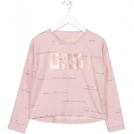 Dievčenské tričko s dlhým rukávom  s trblietavým nápisom