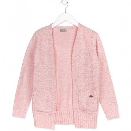 Dievčenský pletený sveter s vreckami