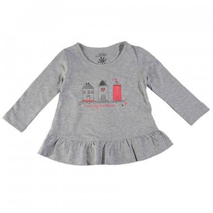 Dievčenské tričko s dlhým rukávom a s volánikom