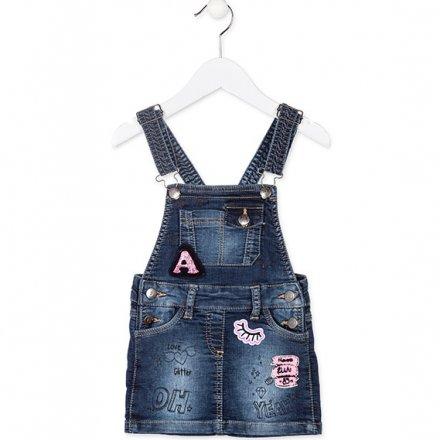 Dievčenské riflové šaty na traky s nášivkami
