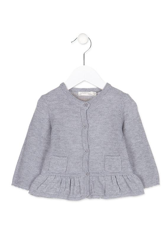 d1bd8907df31 Dievčenský pletený sveter na gombíky s volánikom Losan - 828-5790 ...