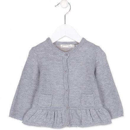 Dievčenský pletený sveter na gombíky s volánikom