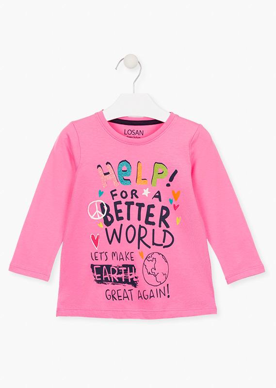Dievčenské tričko s dlhým rukávom a s potlačou
