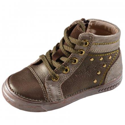 Dievčenské prechodné kožené topánky-Bronze