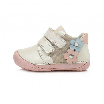 Dievčenské  kožené prechodné topánky Barefoot-White