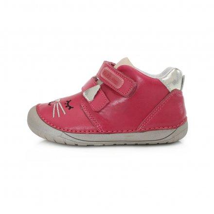 Dievčenské  kožené prechodné topánky Barefoot-Dark Pink