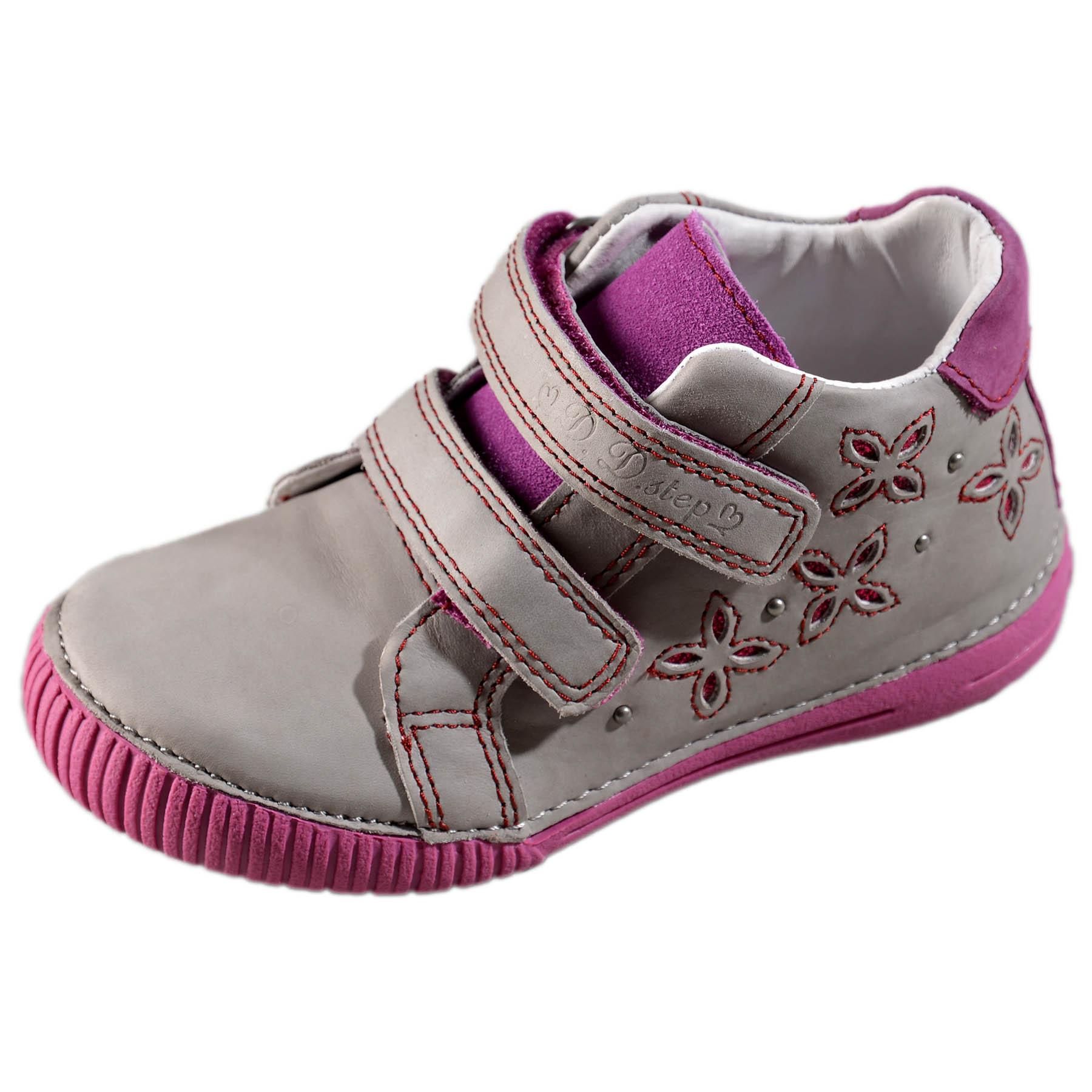 404968bf1d59 Dievčenské prechodné kožené topánky-Dark grey DDstep - 036-704AL ...