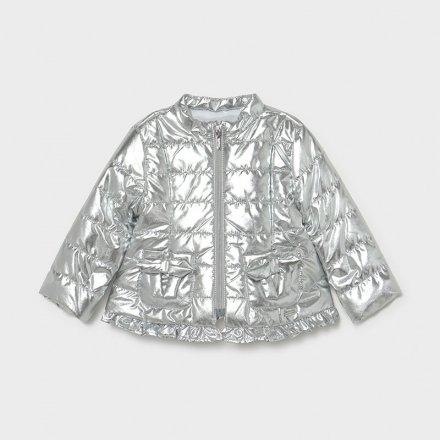 Dievčenská strieborná prechodná bunda bez kapucne