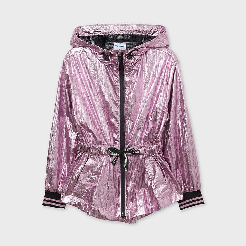 Dievčenská metalická vetrovka na zips s kapucňou