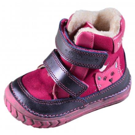 Dievčenské zimné topánky zateplené s kožušinkou-Dark Pink