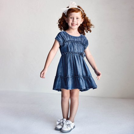 Letné rifľové šaty s krátkym rukávom