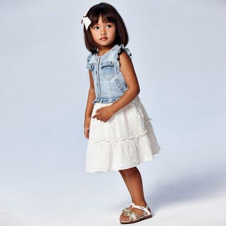 Dievčenské kombinované šaty s vyšívanou sukňou