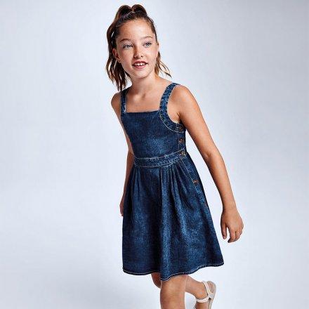 Dievčenské riflové šaty na ramienka
