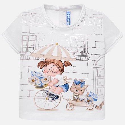 Dievčenské tričko s krátkym rukávom s milou potlačou