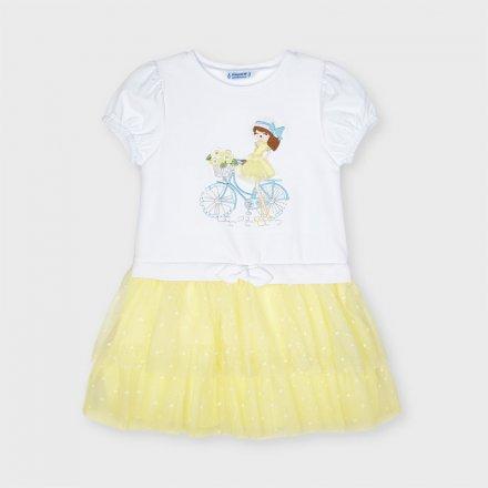 Kombinované šaty  s krátkym rukávom a s tylovou sukňou