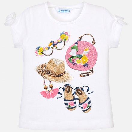 Dievčenské tričko s krátkym rukávom zdobená s mašličkami