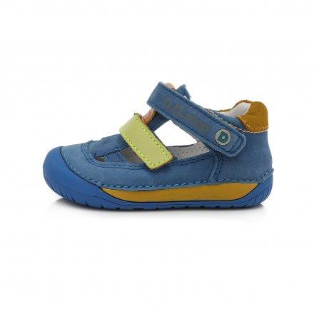 Chlapčenské kožené otvorené polotopánky BAREFOOT-Bermuda Blue