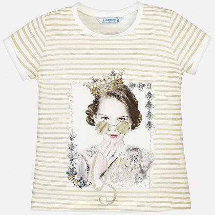 Dievčenské pruhované tričko s krátkym rukávom