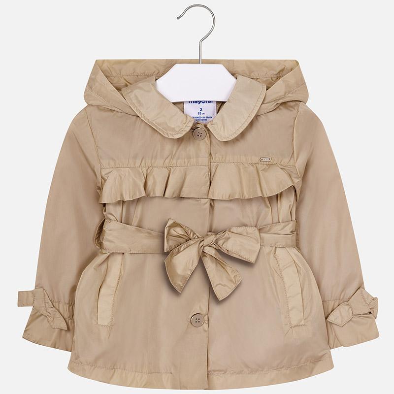 Dievčenský prechodný kabát s opaskom