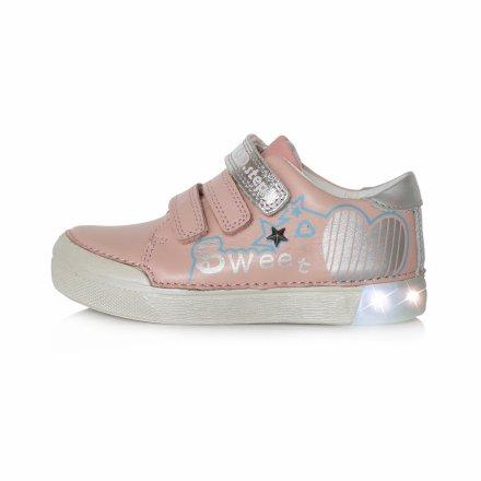 Dievčenské kožené blikajúce prechodné topánky-Baby Pink