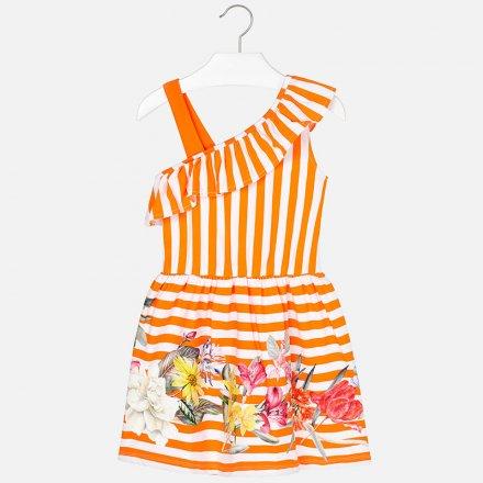 Dievčenské pruhované  letné šaty s volánikom
