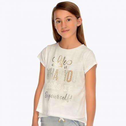 Dievčenské tričko s krátkym rukávom a s trblietavým nápisom
