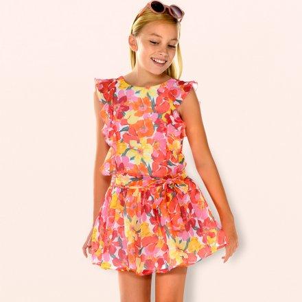 Dievčenské kvetinové letné šaty bez ramienok