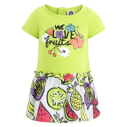 Letné šaty s krátkym rukávom  s farebnou potlačou