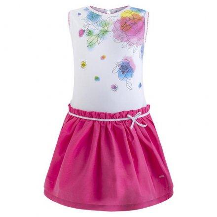 Dievčenské kombinované letné šaty bez rukávov