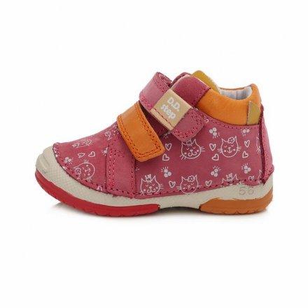 Dievčenské kožené prechodné topánky-Dark Pink