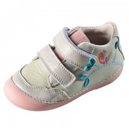 Dievčenské kožené prechodné topánky-White