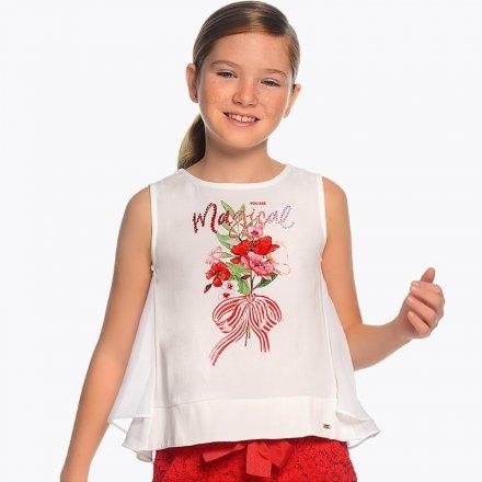 Dievčenské tričko bez rukávov s ozdobnou aplikáciou