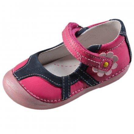 Dievčenské kožené otvorené polotopánky-Dark Pink