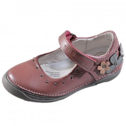 Dievčenské kožené otvorené polotopánky-Pink