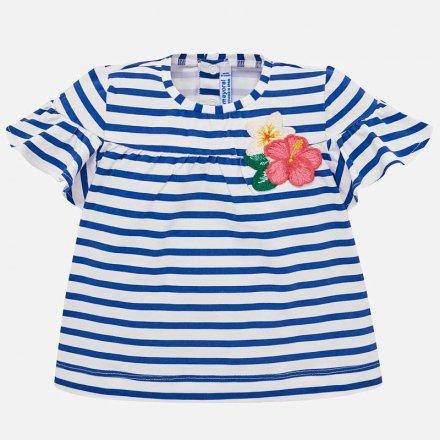 Dievčenské pruhované tričko s volánikovým rukávom