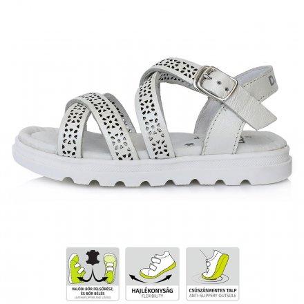 Dievčenské kožené sandálky-White