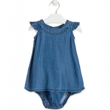 Dievčenské šaty z mäkkej rifľoviny s nohavičkami