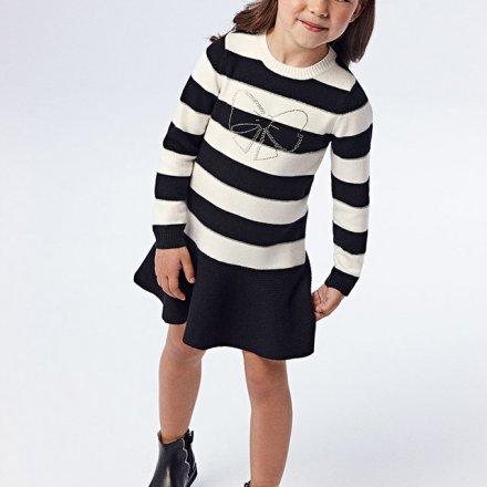 Dievčenské pletené  šaty s dlhým rukávom